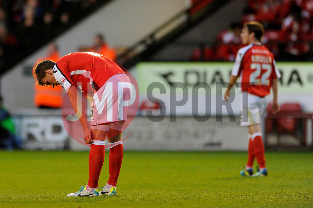 Walsall's Paul Downing cuts a dejected figure - Photo mandatory by-line: Dougie Allward/JMP - Mobile: 07966 386802 26/08/2014 - SPORT - FOOTBALL - Walsall - Bescot Stadium - Walsall v Crystal Palace - Capital One Cup