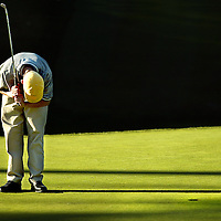 Kyle Garcia of  St. Francis Central Coast Catholic High School, reacts to a missed putt.