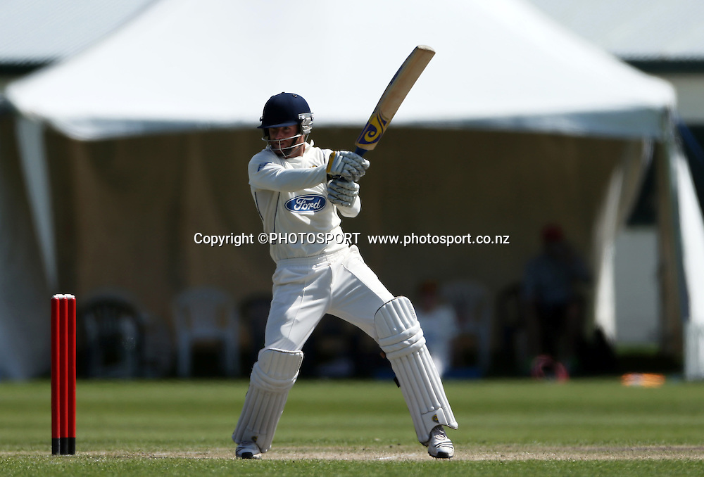 Aaron Redmond batting for Otago during his innings. Canterbury Wizards v Otago Volts, Mainpower Oval, Rangiora, Tuesday 30 October 2012. Photo : Joseph Johnson/photosport.co.nz