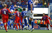 Photo: Ashley Pickering.<br /> Ipswich Town v Crystal Palace. Coca Cola Championship. 26/08/2007.<br /> Jason De Vos of Ipswich (L blue) challenges Julian Speroni of Palace for the ball