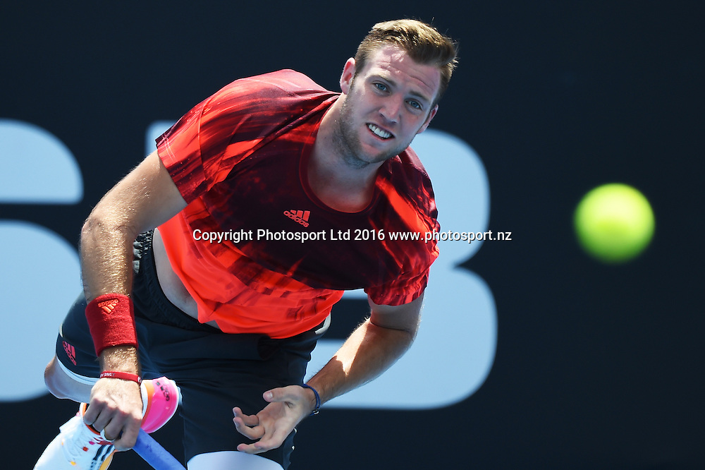 Jack Sock (USA) on quarter finals day at the ASB Classic Tennis Men's tournament. ASB Tennis Centre, Stanley st, Auckland, New Zealand. Thursday 14 January 2016. Copyright Photo: Andrew Cornaga / www.photosport.nz