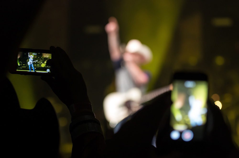 Justin Moore performing on the Platinum tour with Miranda Lambert at Peoria Civic Center, Peoria, Illinois, February 21, 2015. Photo: George Strohl