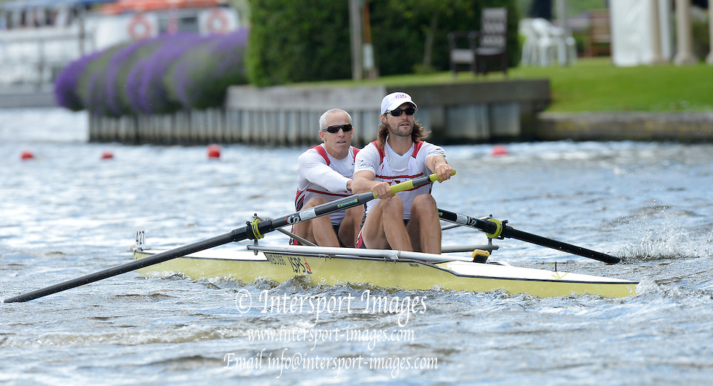 Henley, GREAT BRITAIN. Silver Goblets and Nickalls' Challenge Cup. New york Athletic Club, Bow Jamie KOVEN and Mike BLOMQUIST, at the start of their Saturday heat.  2012 Henley Royal Regatta.  ..Saturday  16:11:00  30/06/2012. [Mandatory Credit, Peter Spurrier/Intersport-images]...Rowing Courses, Henley Reach, Henley, ENGLAND . HRR.