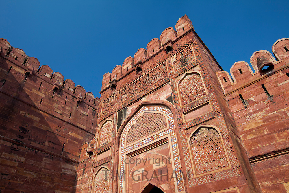 Amar Singh Gate of Agra Fort, 17th Century residence of Great Mughals and Mughal fort in Agra, Northern India