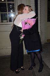 Lauren Goodger greets Marina Laslo at Marino Laslo's gig at St James Theatre, Victoria, London on Saturday 22 February 2014
