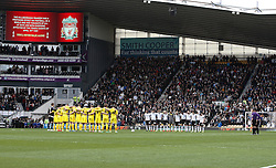 Players and fans show their respect for the Hillsborough tragedy - Photo mandatory by-line: Matt Bunn/JMP - Tel: Mobile: 07966 386802 -12/04/2014 - SPORT - FOOTBALL - IPRO Stadium- Derby - Derby County v Huddersfield- Sky Bet Championship