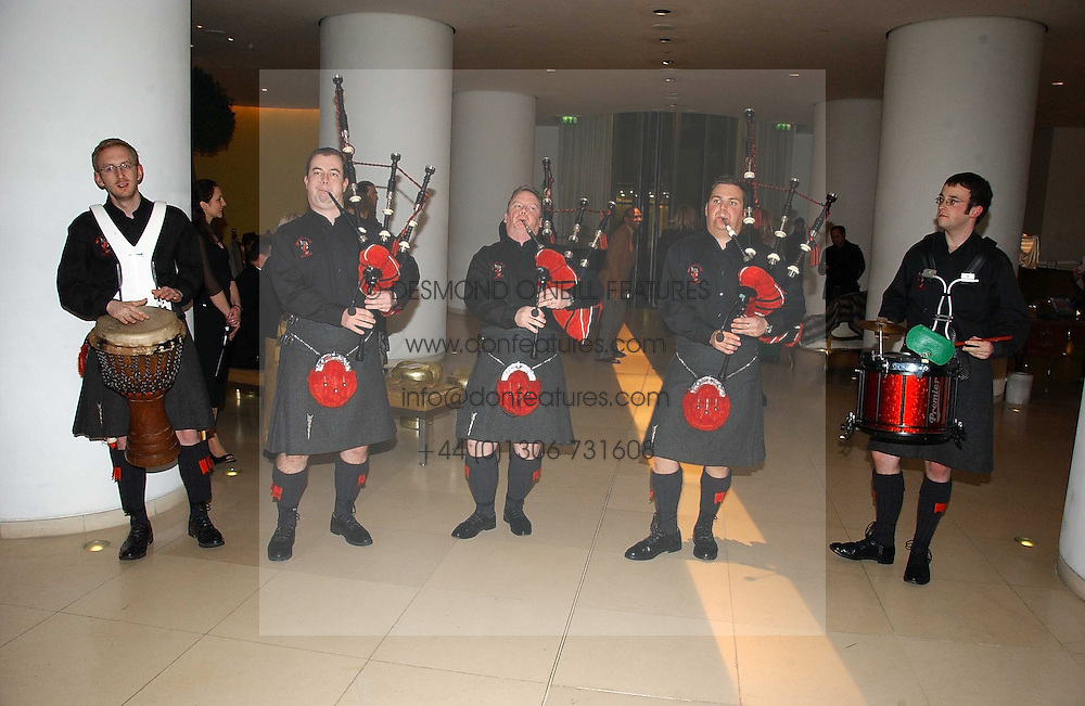 RED HOT CHILLI PIPERS at a Burns Night dinner in aid of CLIC Sargent and Children's Hospice Association Scotland held at St.Martin's Lane Hotel, St.Martin's Lane, London on 25th January 2007.<br /><br />NON EXCLUSIVE - WORLD RIGHTS
