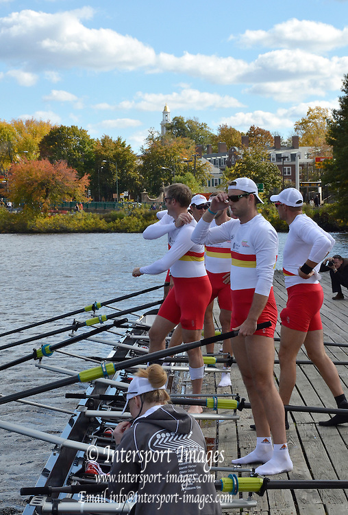 "Boston,  USA  ."" 2012 Head of the Charles"".  ..Description;  Harvard University Newell Boathouse, Tideway Scullers, Great Eight, boating for the race.  2012 Head of the Charles.  Charles River.  Massachusetts,..20:14:30  Sunday  21/10/2012 ...[Mandatory Credit: Karon Phillips/Intersport Images]"