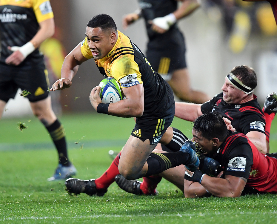 Hurricanes Ngani Laumape tackled by Crusaders Michael Alaalatoa in Super Rugby match at Westpac Stadium, Wellington, New Zealand, Saturday, July 15, 2017. Credit:SNPA / Ross Setford  **NO ARCHIVING""