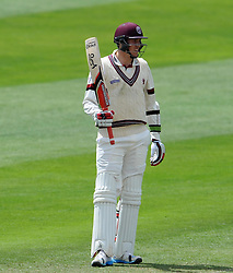 Somerset's Jamie Overton celebrates his half century. Photo mandatory by-line: Harry Trump/JMP - Mobile: 07966 386802 - 26/05/15 - SPORT - CRICKET - LVCC County Championship - Division 1 - Day 3 - Somerset v Yorkshire - The County Ground, Taunton, England.