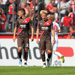 04.05.2014, Rhein-Energie Stadion, Koeln, GER, 2. FBL, 1. FC Koeln vs FC St. Pauli, 33. Runde, im Bild Marc Rzatkowski (FC Sankt Pauli #10) und Winter Neuzugang Tom Trybull #35 (FC Sankt Pauli - links) // during the German 2nd Bundesliga 33th round match between 1. FC Cologne and FC St Pauli at the Rhein-Energie Stadion in Koeln, Germany on 2014/05/04. EXPA Pictures © 2014, PhotoCredit: EXPA/ Eibner-Pressefoto/ Schueler<br /> <br /> *****ATTENTION - OUT of GER*****