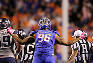 Boise State defensive tackle Elliot Hoyte (96) celebrates a third down stop against Utah State, forcing a punt at Albertsons Stadium in Boise, ID on Saturday Oct. 1, 2016.