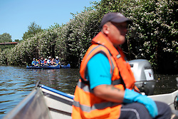 UK ENGLAND LEICESTER 30JUN15 - Leicester City Park Ranger Peter Flavel steers a small motor-boat on the river Soar at Leicester city.<br /> <br /> jre/Photo by Jiri Rezac / WWF UK<br /> <br /> © Jiri Rezac 2015