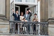 16.04.2016. Copenhagen, Denmark.<br /> Queen Margrethe II celebrates her 76th birthday with her whole family. Princess Marie, Prince Nikolai, Prince Felix,  Prince Joachim, Princess Athena and  Prince Henrik on the balcony of Christian IX's Palace at Amalienborg Palace.<br /> Photo: © Ricardo Ramirez