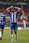 Wigan Athletic Forward, Will Grigg  after his second goal during the Sky Bet League 1 match between Wigan Athletic and Bury at the DW Stadium, Wigan, England on 27 February 2016. Photo by Mark Pollitt.