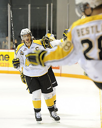 Brayden Schenn of the Brandon Wheat Kings celebrates a goal in the semi-final game of the 2010 MasterCard Memorial Cup in Brandon, MB on Friday May 21. Photo by Aaron Bell/CHL Images