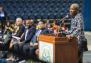 Houston ISD Trustee Jolanda Jones comments during a grand opening ceremony at Delmar Fieldhouse, February 10, 2017.
