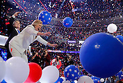 Democratic presidential nominee Hillary Clinton celebrates among balloons after she accepted the nomination on the fourth and final night at the Democratic National Convention in Philadelphia, Pennsylvania, U.S. July 28, 2016.   REUTERS/Jim Young