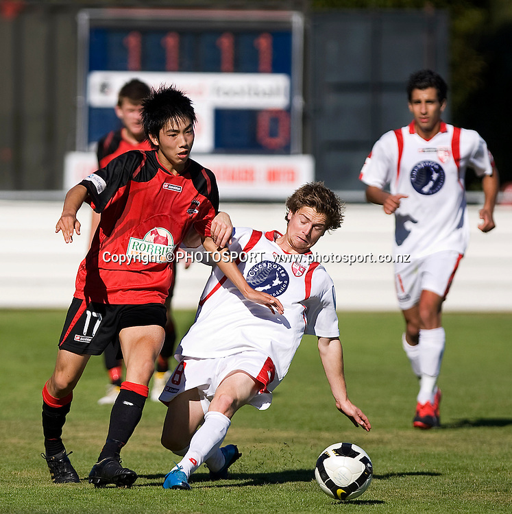 Canterbury United player Ken Yamamoto and Jason Hicks compete for the ball. Lion Foundation Youth League Final, Canterbury United v Waitakere United, English Park, Christchurch, Sunday 11 April 2010. Photo : Joseph Johnson/PHOTOSPORT