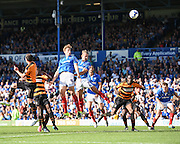 Portsmouth's  Adam Webster sends a header over the bar during the Sky Bet League 2 match between Portsmouth and Barnet at Fratton Park, Portsmouth, England on 12 September 2015. Photo by David Charbit.