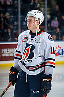 KELOWNA, CANADA - MARCH 9:  Connor Zary #18 of the Kamloops Blazers stands on the ice against the Kelowna Rockets on March 9, 2019 at Prospera Place in Kelowna, British Columbia, Canada.  (Photo by Marissa Baecker/Shoot the Breeze)