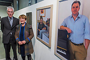 Baroness Tessa Jowell with her portrait by David Newens (both pictured) next to a portrait of Ed Balls - The Royal Society of Portrait Painters Annual Exhibition at the Mall Galleries. It includes over 200 portraits by over 100 artists.