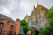 Brick house under the monastery, Mont Saint-Michel, Normandy, France