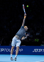 Tennis - 2019 Nitto ATP Finals at The O2 - Day Seven<br /> <br /> Semi Finals: Dominic Thiem (Austria) Vs. Alexander Zverev (Germany)<br /> <br /> Dominic Thiem (Austria) serving <br /> <br /> COLORSPORT/DANIEL BEARHAM<br /> <br /> COLORSPORT/DANIEL BEARHAM