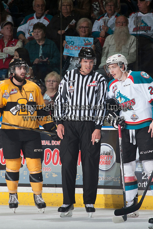 KELOWNA, CANADA - MAY 13: Linesman Ryan Gibbons stands on the ice on May 13, 2015 during game 4 of the WHL final series at Prospera Place in Kelowna, British Columbia, Canada.  (Photo by Marissa Baecker/Shoot the Breeze)  *** Local Caption *** Ryan Gibbons; linesman;