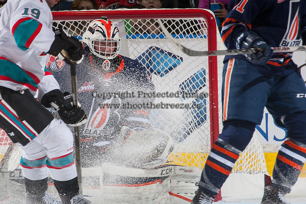 KELOWNA, CANADA - APRIL 1: Connor Ingram #39 of Kamloops Blazers makes a save against the Kelowna Rockets on April 1, 2016 at Prospera Place in Kelowna, British Columbia, Canada.  (Photo by Marissa Baecker/Shoot the Breeze)  *** Local Caption *** Connor Ingram;