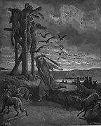 Rizpah, king Saul's concubine, stopping the birds and beasts devouring the bodies of her sons and five others killed by the Gibeonites as a harvest sacrifice after famine. From Gustave Dore's illustrated 'Bible' 1866. Wood engraving.