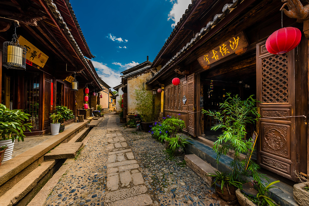 The market town of Shaxi, on the Tea Horse Caravan Road, which links Southern Yunnan to Tibet and Burma and retains its position as one of the best preserved historic market hubs today. Yunnan Province, China.