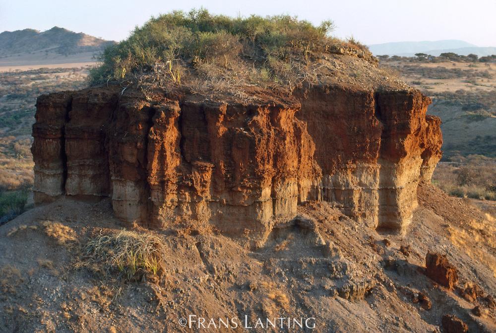 Sedimentary outcrop where early homonids were found, Olduvai Gorge, Tanzania