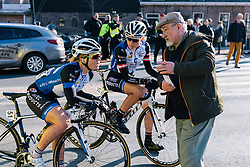 Emilie Moberg and Julie Leth taking directions from a local - Ronde van Drenthe 2016, a 138km road race starting and finishing in Hoogeveen, on March 12, 2016 in Drenthe, Netherlands.