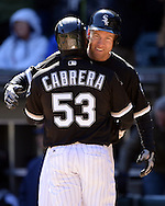 CHICAGO - APRIL 09:  Todd Frazier #21celebrates with Melky Cabrera #53 of the Chicago White Sox after Avisail Garcia #26 hit a home run against the Cleveland Indians on April 9, 2016 at U.S. Cellular Field in Chicago, Illinois.  The White Sox defeated the Indians 7-3.  (Photo by Ron Vesely)  Subject: Todd Frazier; ; Melky Cabrera; Avisail Garcia