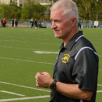 Bob Maltman, Head coach of the Regina Cougars women's soccer team during the Women's Soccer Homeopener on September 10 at U of R Field. Credit: Arthur Ward/Arthur Images