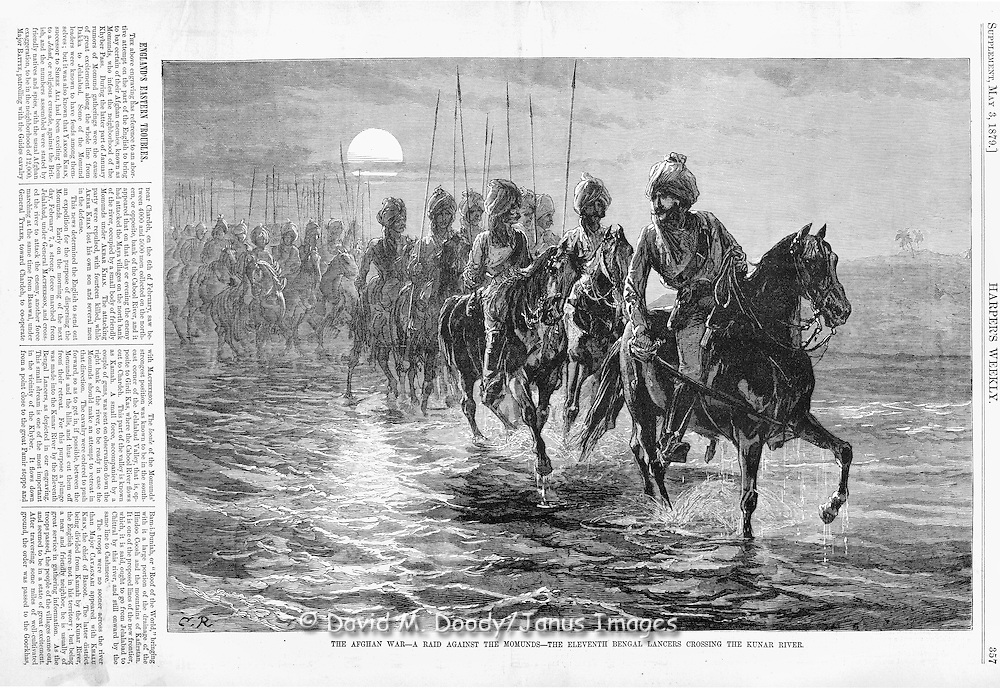 British led Indian cavalry in Afghanistan War 1879 The Eleventh Bengal Lancers crossing the Kunar River. Harper's Weekly 1879