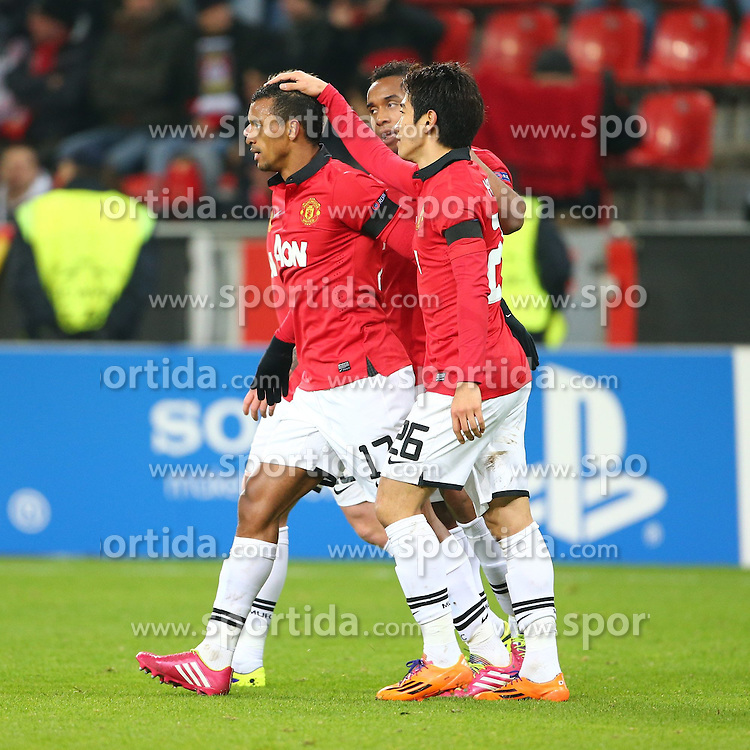 27.11.2013, BayArena, Leverkusen, GER, UEFA CL, Bayer Leverkusen vs Manchester United, Gruppe A, im Bild Nani (Manchester United) bejubelt seinen Treffer zum 0:5 mit Shinji Kagawa (Manchester United), Anderson (Manchester United), Torjubel / Jubel, Emotionen // during UEFA Champions League group A match between Bayer Leverkusen vs Manchester United at the BayArena in Leverkusen, Germany on 2013/11/28. EXPA Pictures &copy; 2013, PhotoCredit: EXPA/ Eibner-Pressefoto/ Neis<br /> <br /> *****ATTENTION - OUT of GER*****