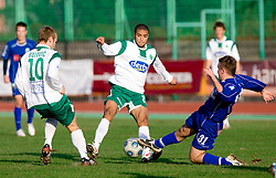 Joao Gabrijel Da Silva of Olimpija vs Leon Kukec of Drava at 18th Round of PrvaLiga football match between NK Olimpija and NK Labod Drava, on November 21, 2009, in ZAK, Ljubljana, Slovenia. Olimpija defeated Drava 3:0. (Photo by Vid Ponikvar / Sportida)