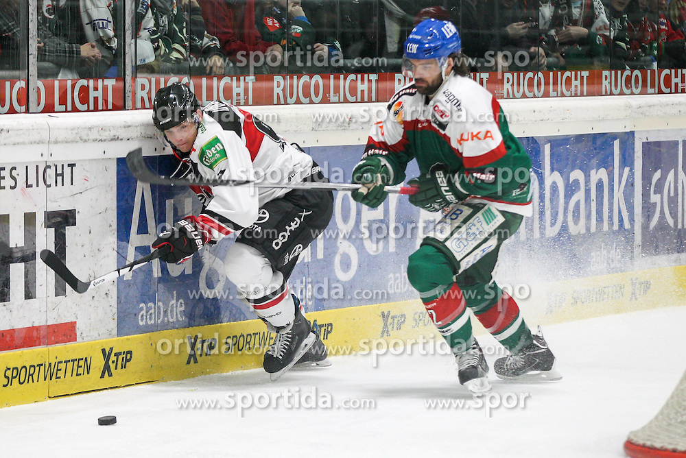 12.12.2014, Curt Fenzel Stadion, Augsburg, GER, DEL, Augsburger Panther vs Koelner Haie, 26. Runde, im Bild l-r: im Zweikampf, Aktion, mit Sebastian Uvira #93 (Koelner Haie) und Brady Lamb #2 (Augsburger Panther) // during Germans DEL Icehockey League 26th round match between Augsburger Panther vs Koelner Haie at the Curt Fenzel Stadion in Augsburg, Germany on 2014/12/12. EXPA Pictures © 2014, PhotoCredit: EXPA/ Eibner-Pressefoto/ Kolbert<br /> <br /> *****ATTENTION - OUT of GER*****