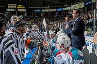 KELOWNA, CANADA - DECEMBER 30: Referee Troy Paterson speaks to Kelowna Rockets coaches Jason Smart and Kris Mallette on the bench against the Victoria Royals on December 30, 2016 at Prospera Place in Kelowna, British Columbia, Canada.  (Photo by Marissa Baecker/Shoot the Breeze)  *** Local Caption ***