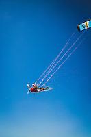 Mike White kite boarding near Harvey Cay, Exumas, Bahamas.