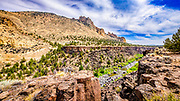 From North Point Trail looking across the Crooked River to Staender Ridge in Smith Rock State Park, Oregon.