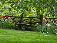 Rustic bench near Belvedere Castle in Central Park