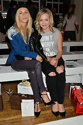 Left to right, LADY MARY CHARTERIS and POPPY JAMIE at the Gyunel Spring Summer 2015 fashion show as part of London Fashion week 2015 held at Victoria House, Bloomsbury Square, London on 12th September 2014.