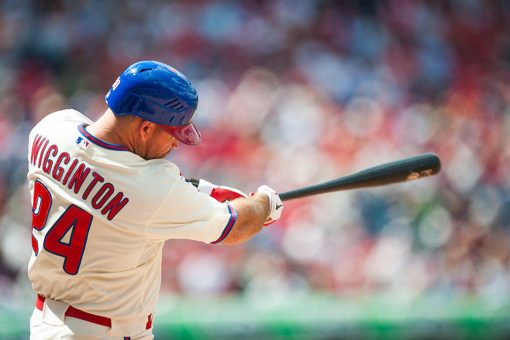 PHILADELPHIA, PA - JUNE 07: Ty Wigginton #24 of the Philadelphia Phillies bats during the game against the Los Angeles Dodgers at Citizens Bank Park on June 7, 2012 in Philadelphia, Pennsylvania. (Photo by Rob Tringali) *** Local Caption *** Ty Wigginton