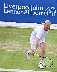 LIVERPOOL, ENGLAND - Sunday, June 21, 2015: Peter McNamara (AUS) during Day 4 of the Liverpool Hope University International Tennis Tournament at Liverpool Cricket Club. (Pic by David Rawcliffe/Propaganda)