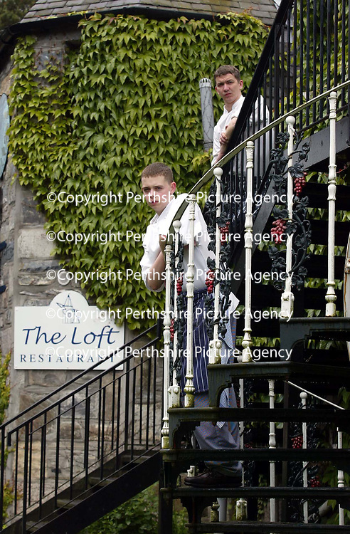 Daniel Richardson, 16 year old Head Chef of The Loft restaraunt in Blair Atholl, Perthsire with the chef he is replacing Paul Collins<br /><br />Picture by Graeme Hart.<br />Copyright Perthshire Picture Agency<br />Tel: 01738 623350  Mobile: 07990 594431