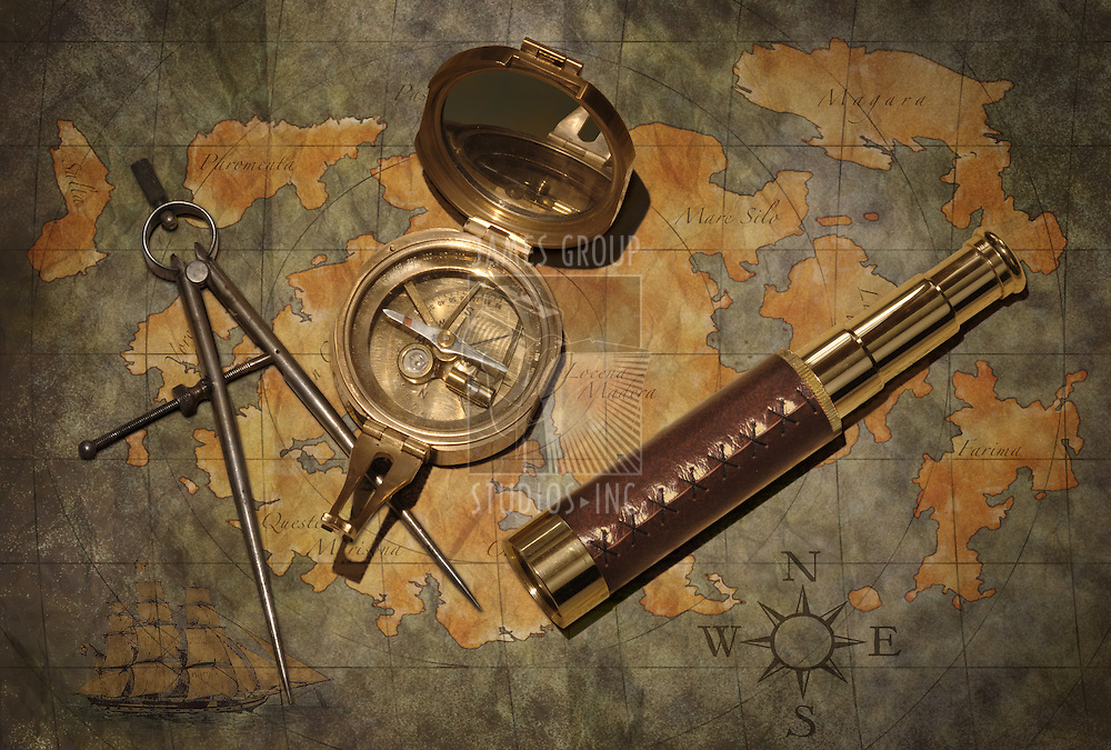 Vintage map with compass and telescope..istock: map art was created by photographer and is already in my portfolio