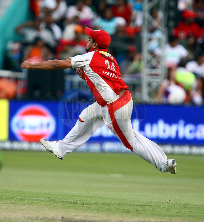 DURBAN, SOUTH AFRICA - 1 May 2009.Abdulla was brilliant as bowler, but did not stand back as fielder during the IPL Season 2 match between Kings X1 Punjab and the Royal Challengers Bangalore held at Sahara Stadium Kingsmead, Durban, South Africa..